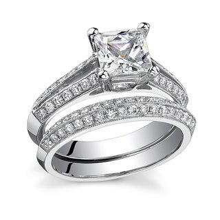 18k White Gold 1 1/2ct TDW Princess-cut Diamond Bridal Ring Set (G-H, SI1-SI2)