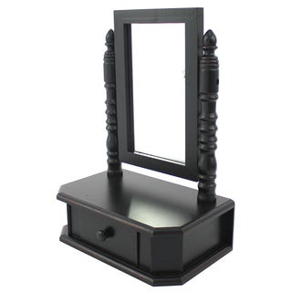 Black Tabletop Storage Drawer with Mirror