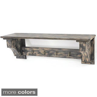 Distressed Wood Shelf with Four Hooks