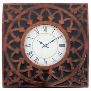 Coppertone and Black Medallion Metal Wall Clock (set of 4)
