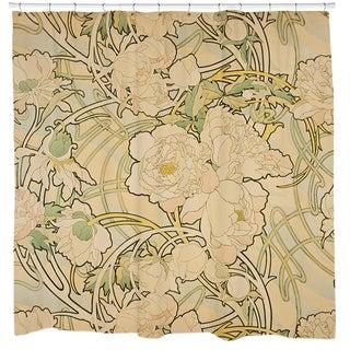Alphonse Mucha 'Peonies' Shower Curtain