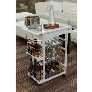 Nordic Furniture Rolling Bar with Wine Racks