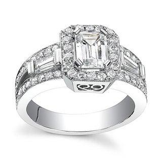 14k White Gold 1 1/10ct TDW Emerald Diamond Engagement Ring (H-I, SI1-SI2)