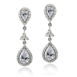 Icz Stonez Silver 2 5/8ct TGW Cubic Zirconia Teardrop Dangle Earrings