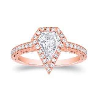 Auriya 18k Rose Gold 1 1/4ct TDW Diamond-shaped Halo Engagement Ring (D-E, VVS1-VVS2)