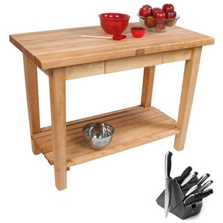 John Boos Country Maple Rolling Kitchen Work Table with Henckels 13 Piece Knife Block Set