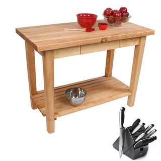 John Boos Rolling Country Maple 48 x 24 Kitchen Work Table with Shelf and Henckels 13-piece Knife Block Set