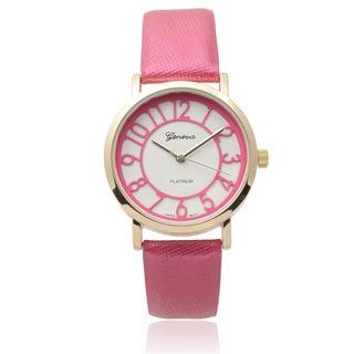 Geneva Platinum Women's Pink Faux Leather Watch