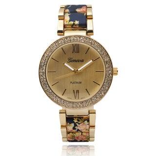 Geneva Platinum Women's SW-2394 Rhinestone Accent Round Dial Quartz Link Floral Watch