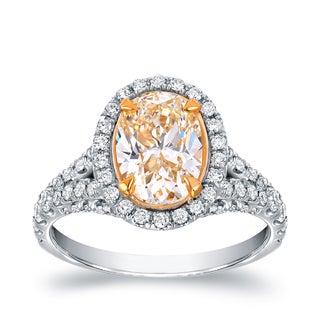 Auriya 18k Two-tone Gold 2 7/8ct TDW Fancy Yellow Oval-shaped Diamond Ring (VS1-VS2)