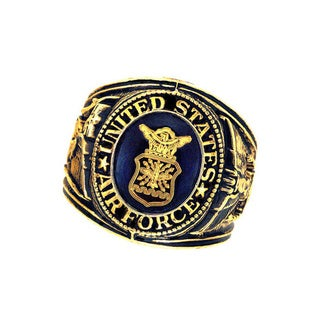Official US Air Force Sapphire Crystal Deluxe Engraved Goldtone Ring