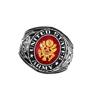 Official US Army Deluxe Engraved Silvertone Ruby Crystal Ring