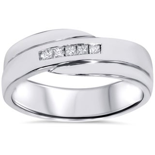 Bliss 10k White Gold 1/6ct TDW Men's Princess-cut Diamond Wedding Ring (H-I, I1-I2)