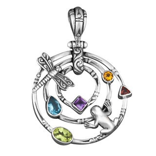 Sterling Silver Multi-stone 'Frog Meets Dragonfly' Pendant (Indonesia)
