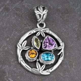 Sterling Silver Multi-stone 'Mother Nature' Cawi Pendant (Indonesia)