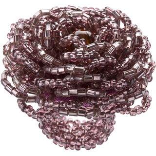 Kele & Co Mauve and Purple Glass Bead Flower-shaped Stretch Ring