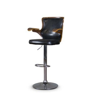 Baxton Studio Hamilton Walnut/ Black Modern Adjustable Height Swivel Barstool