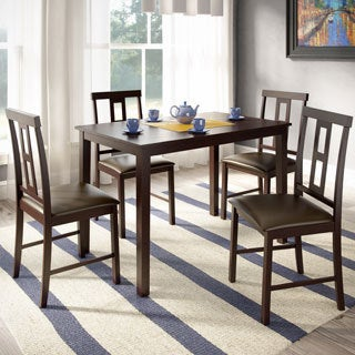 CorLiving DKR-599-Z1 5-piece Chocolate Black Leather Dark Cocoa Dining Set