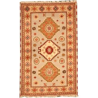 Herat Oriental Indo Hand-knotted Tribal Kazak Light Blue/ Beige Wool Rug (3' x 5')