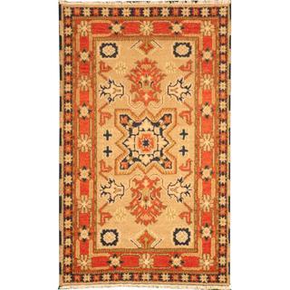 Herat Oriental Indo Hand-knotted Tribal Kazak Beige/ Ivory Wool Rug (3' x 5')