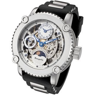 Rougois Men's Skeleton Two-time Zone Mechanical Watch