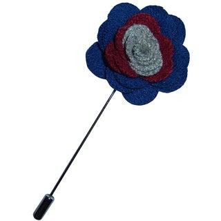 Dmitry Men's Blue Wool Flower Lapel Pin