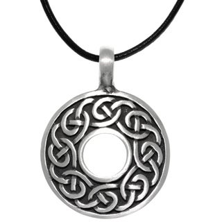 CGC Pewter Celtic Knot Round Ring Pendant on Black Leather Necklace