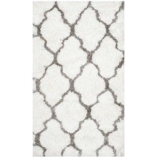 Safavieh Handmade Barcelona Shag White/ Silver Polyester Rug (3' x 5')