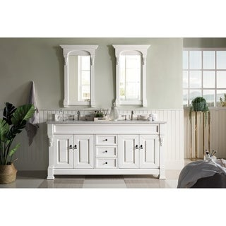 James Martin Furniture 72-inch Brookfield Cottage White Double Vanity with Marble Top