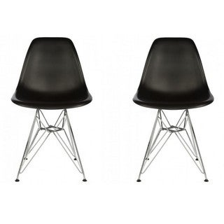 Contemporary Retro Molded Eames Style Black Accent Plastic Dining Shell Chair with Steel Eiffel Legs (Set of 2)