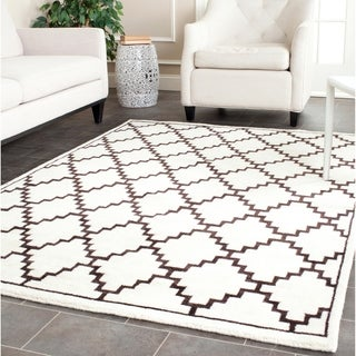 Safavieh Hand-knotted Moroccan Mosaic Beige/ Charcoal Wool/ Viscose Rug (8' x 10')
