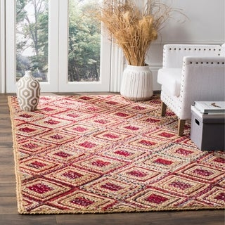Safavieh Hand-Woven Cape Cod Natural/ Red Jute Rug (9' x 12')