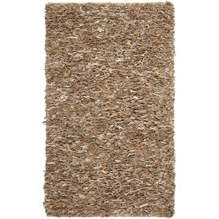Safavieh Handmade Leather Shag Dark Beige Leather Rug (9' x 12')
