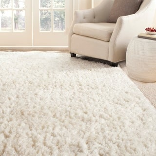 Safavieh Handmade Shag White Polyester Rug (8'6 x 12')