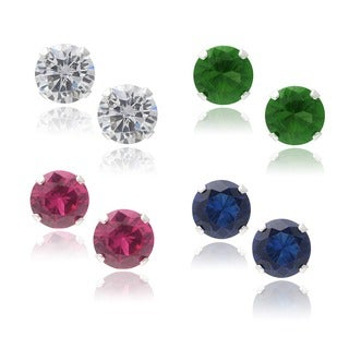 Journee Collection Sterling Silver Cubic Zirconia Round Stud Earrings (Set of 4)