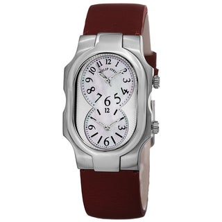 Philip Stein Women's 1-NFMOP-CIDR 'Signature' Mother Of Pearl Dial Red Leather Strap Quartz Watch
