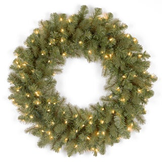24-inch Downswept Douglas Blue Wreath with Clear Lights