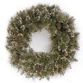 24-inch Glittery Bristle Pine Wreath with Clear Lights