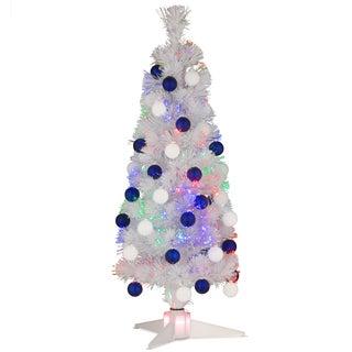 36-inch Fiber Optic Fireworks White Ornament Tree with White/Blue Shiny Matte Tree