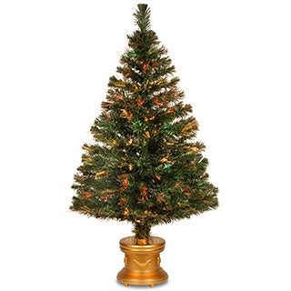 48-inch Fiber Optic Evergreen Firework Tree with Top Star and Gold Base