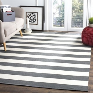 Safavieh Hand-woven Montauk Grey/ White Cotton Rug (9' x 12')