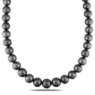 Miadora Signature Collection 14k White Gold Tahitian Pearl and Diamond Accent Necklace (12-15 mm)