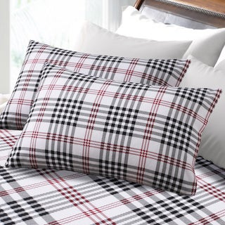6 Oz Hemstitched Plaid Deep Pocket Flannel Sheet Set or Pillowcase Separates
