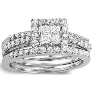 14k White Gold 1 1/8ct TDW Princess-cut Diamond Bridal Set (H-I, I1-I2)