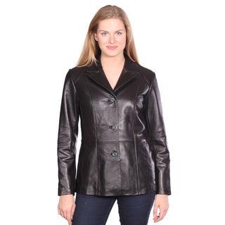 Women's 'Tribeca' Black Leather Blazer