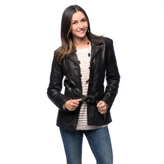 NuBorn Women's 'Amelia' Leather Blazer