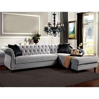 Furniture of America Elegant Aristocrat Tufted Grey Sectional
