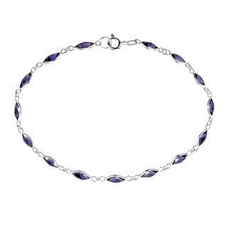 Sublime Purple Oval Links .925 Sterling Silver Bracelet (Thailand)