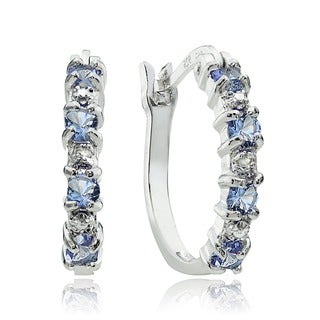 Glitzy Rocks Sterling Silver Tanzanite and Diamond Accent Hoop Earrings