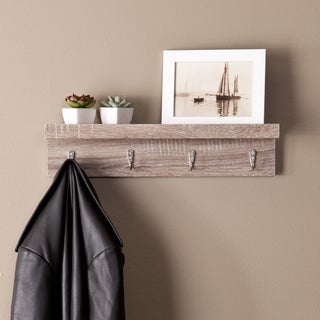 Upton Home Arcadia Dark Oak Wall Mount Shelf with Hooks